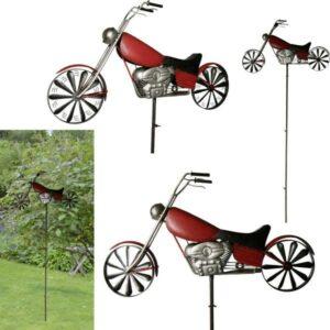 Windrad Motorrad Windspiel Chopper am Stab, Eisen, rot