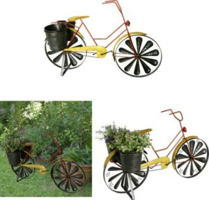 Windspiel Fahrrad mit 2 Pflanztöpfen, Gartendekoration Eisen 62 x 27,5 x 38 cm