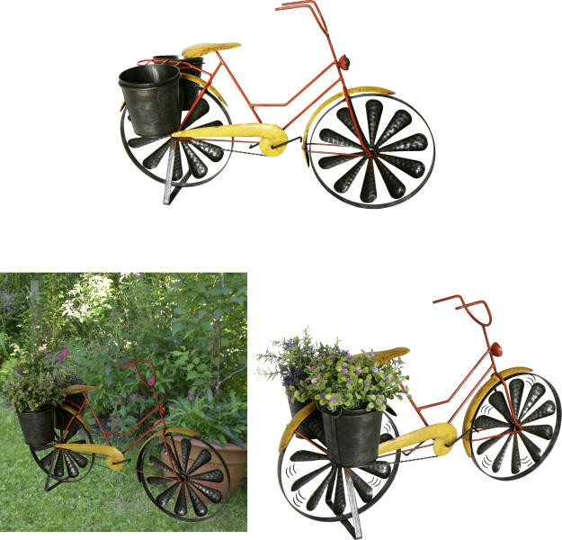 Windspiel fahrrad mit 2 pflanzt pfen gartendekoration for Gartendekoration eisen