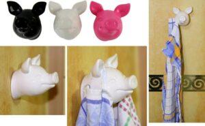 Schweinekopf Handtuchhalter für Küche Bad WC - Wandhalterung für Accessories - Keramik