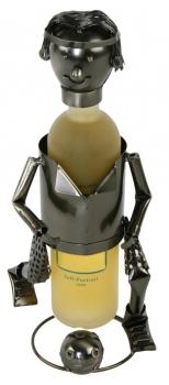 Flaschenhalter Fußball Spieler - Weinflaschenhalter Metall Skulptur Fußballer