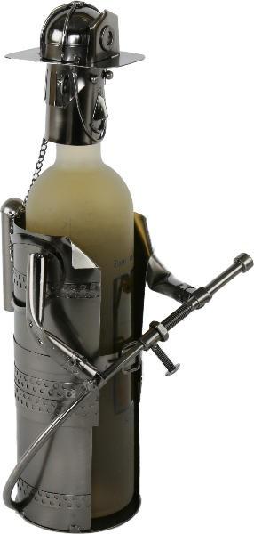Flaschenhalter Feuerwehr Skulptur Feuerwehrmann, Metall Weinflaschenhalter