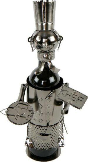 Flaschenhalter Koch Skulptur Chefkoch Weinflaschenhalter, Metall