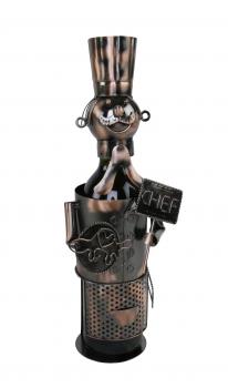 Flaschenhalter Koch Skulptur aus Metall - Chefkoch Weinflaschenhalter