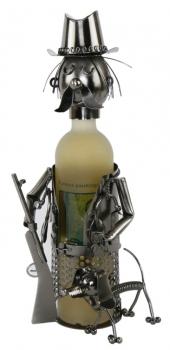 Flaschenhalter Jäger mit Hund Skulptur aus Metall
