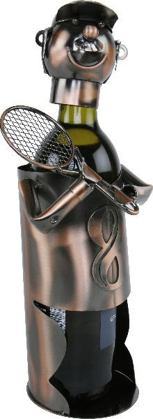 Flaschenhalter Tennisspieler mit Schläger - Badminton - Beachtennis - Tennis Skulptur aus Metall, kupferfarben
