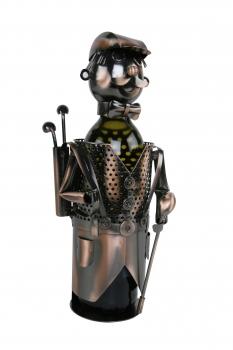 Flaschenhalter Golfer - Weinflaschenhalter Skulptur Golfspieler aus Metall