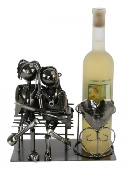Flaschenhalter Liebespaar - Weinflaschenhalter Skulpture Pärchen auf der Bank, Metall