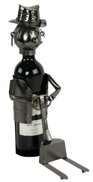 Flaschenhalter Gabelstaplerfahrer aus Metall - Gabelstapler - Lagerist mit Hubwagen