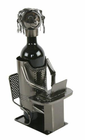 Flaschenhalter Büro - Büroangestellte - Sekretärin am Computer, Weinflaschenenhalter Skulptur aus Metall