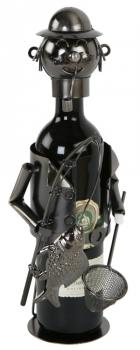 Flaschenhalter Angler Skulptur - Weinflaschenhalter Fischer mit Rute und Kescher, Metall
