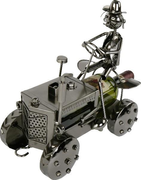 Flaschenhalter Trecker - Traktor Bullldog mit Farmer aus Metall - Weinflaschenhalter Landwirt - Bauer