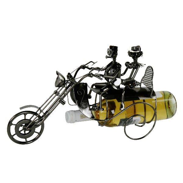Flaschenhalter Skulptur Motorradfahrer mit Beifahrerin - Biker mit Sozius - Rockerpaar Liebespaar mit Motorrad Weinflaschenhalter