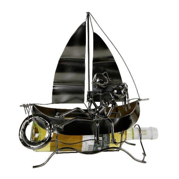 Flaschenhalter Liebespaar Segler - Segelschiff Weinflaschenhalter Schiff Skulptur Maritim aus Metall