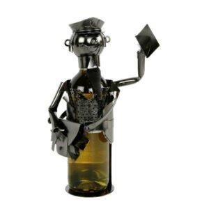 Flaschenhalter Postbote mit Brief - Metall Weinflaschenhalter Briefträger