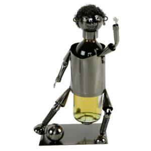 Flaschenhalter Fußballer m. Ball - Weinflaschenhalter Skulptur Fußball Spieler aus Metall - Schraubenmännchen