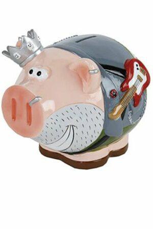 Spardose Rockstar Sparschwein King of Rock´n Roll - König Schwein mit E-Gitarre und Krone