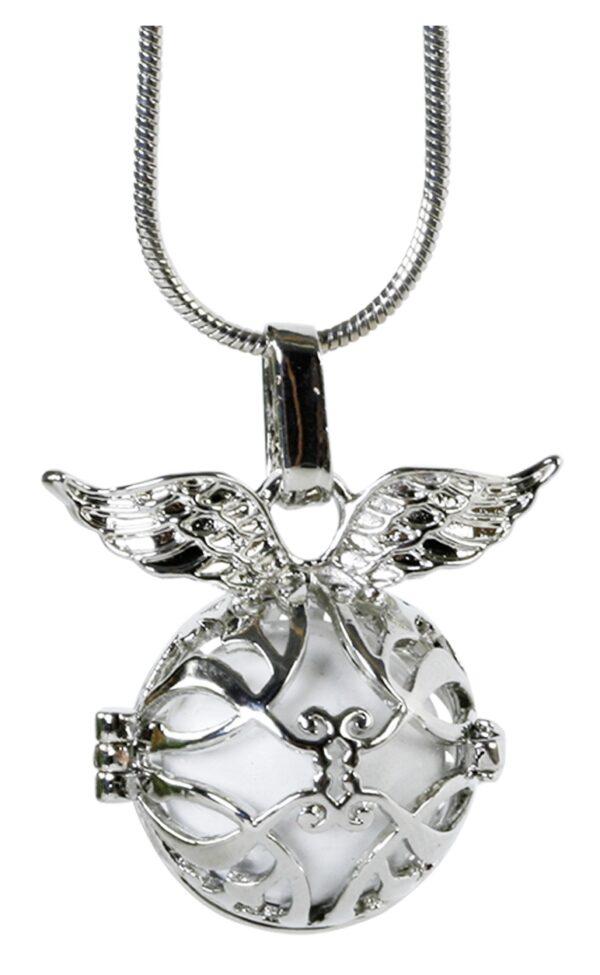 Schutzengel Kette Engelsrufer mit Klangkugel - Engelsflüsterer mit Flügel - Schmuckkette in Geschenkverapackung