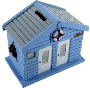 Spardose Strandhaus blau - Sparbüchse Holzhaus Martim mit Rettungsring