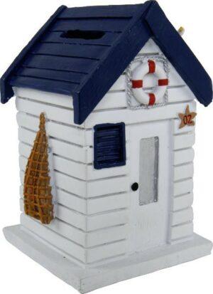 Spardose Strandhaus weiß - Sparbüchse Holzhaus Martim mit Rettungsring