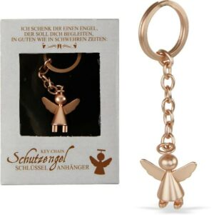 Schutzengel Schlüsselanhänger rosegold aus Edelstahl - Schlüsselring Engel in Geschenkbox