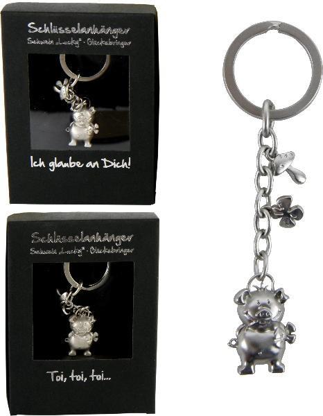 Schlüsselanhänger Schwein Lucky mit Kleeblatt und Fliegenpilz - Glücksbringer Schlüsselring im Geschenkkarton - Taschenanhänger Glücksschwein