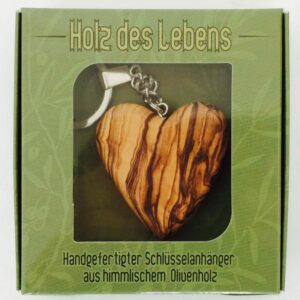 Herz Schlüsselanhänger aus Olivenholz - Holz des Lebens