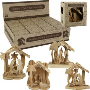 Holz Anhänger Minikrippe - Olivenholz Weihnachtskrippe Christbaumschmuck Bethlehem
