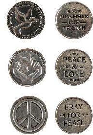 Friedenstaler Einkaufschip mit Friedenssymbol + Spruch - Peace & Love - Zusammen für Frieden - Pray for Peace