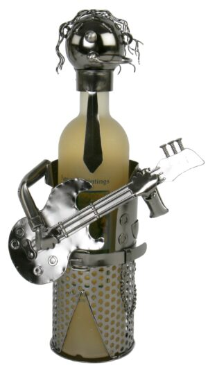Flaschenhalter Gitarrist - Gitarrenspieler - Musiker Skulptur Weinflaschenhalter aus Metall