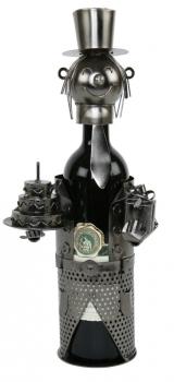 Flaschenhalter Happy Birthday mit Geburtstagstorte - Weinflaschenhalter Skulptur zum Geburtstag aus Metall