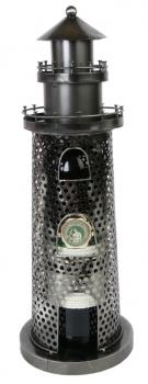 Leuchtturm Flaschenhalter oder Teelichständer aus Metall - Maritim - Nordsee - Ostsee
