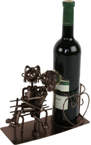 Flaschenhalter Liebespaar auf der Bank, Sektständer Skulptur aus Metall, kupferfarben
