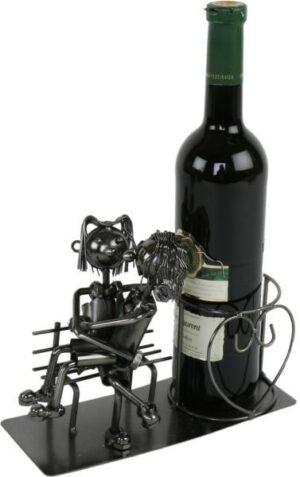 Flaschenhalter Liebespaar auf der Bank - Metall Weinflaschenhalter - er sitzt auf Ihrem Schoß