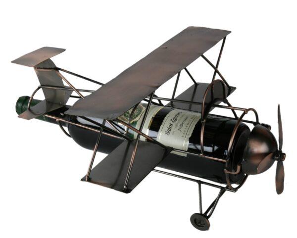 Flaschenhalter Doppeldecker - Weinflaschenhalter Skulptur Flugzeug - Propellerflugzeug aus Metall