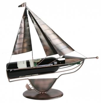 Flaschenhalter Segler Skulptur Segelschiff Weinflaschenhalter Segelboot, Metall, kupferfarben