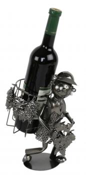 Flaschenhalter Weinlese / Kiepenkerl / Weinkenner Skulptur aus Metall
