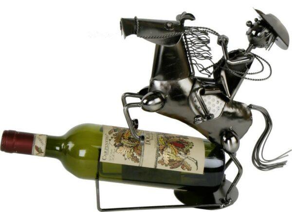 Flaschenhalter Reiter Cowboy mit Pferd Weinflaschenhalter Rodeo
