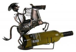 Flaschenhalter Reiter Cowboy mit Pferd Weinflaschenhalter Rodeo aus Metall kupferf.
