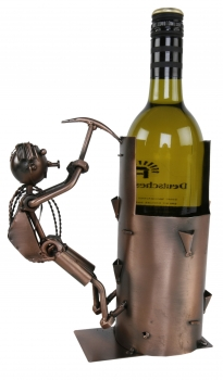 Flaschenhalter Bergsteiger Skulptur mit Spitzhacke - Weinflaschenhalter Kletterer aus Metall, kupferfarben