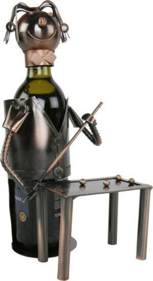 Flaschenhalter Billardspieler mit Billardtisch aus Metall / Kupferfarben