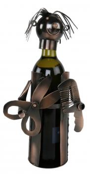 Flaschenhalter Friseur - Hairdresser -Frisör Weinflaschenhalter Skulptur, Metall, kupferfarben