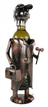 Flaschenhalter Tischler Skulptur Weinflaschenhalter Schreiner, Metall, kupferfarben