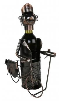 Flaschenhalter Postbote Skulptur / Briefträger mit Fahrrad, Metall / Kupferfarben