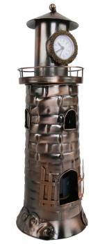 Leuchtturm Uhr Flaschenhalter - Weinflaschenhalter mit Uhr aus Metall / Kupferfarben