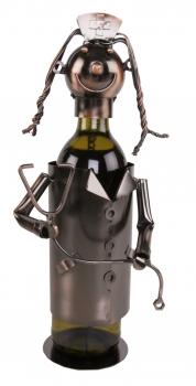 Flaschenhalter Krankenschwester Skulptur Arzthelferin, Metall / Kupferfarben