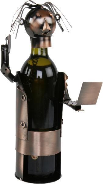 Flaschenhalter Laptop Skulptur Manager - Weinflaschenhalter Geschäftsmann/Vertreter aus Metall