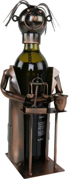 Flaschenhalter Apotheker Skulptur aus Metall - Kupferfarben