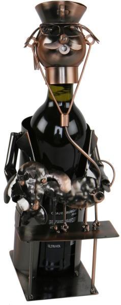Flaschenhalter Tierarzt Skulptur Veterinär Weinflaschenhalter aus Metall, kupferfarben