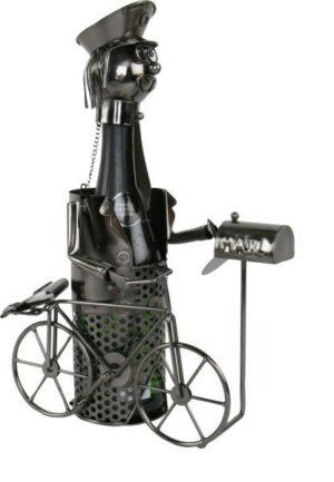 Flaschenhalter Skulptur Postbote mit Fahrrad 544769